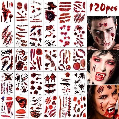 MIAHART 120 Blatt Halloween Narbe Tattoos Aufkleber Blutige Wunde Temporäre Tattoos Blutende Körper Gesicht Abziehbilder Streich Requisiten für Halloween Cosplay Decor