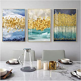 HYFBH Abstract Golden Forest Canvas Painting Nordic Wall Picture para Sala de Estar Modern Green Blue Poster Print Gold Coins Wall Art-40x60cm con Marco