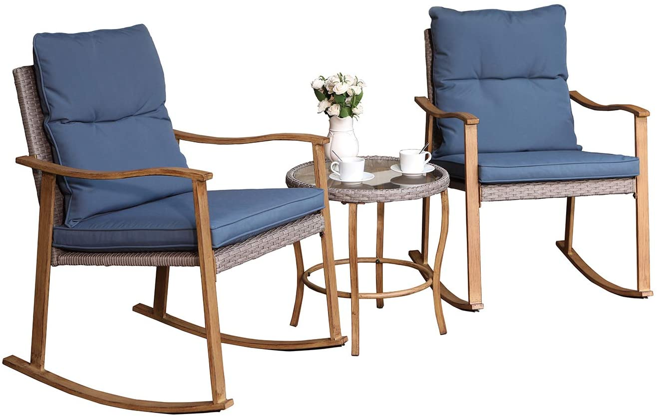 COSIEST 10 Piece Bistro Set Patio Rocking Chairs Outdoor Furniture Faux  Woodgrain w Cobalt Blue Cushions and Round Glass Top Table for Garden,  Pool, ...