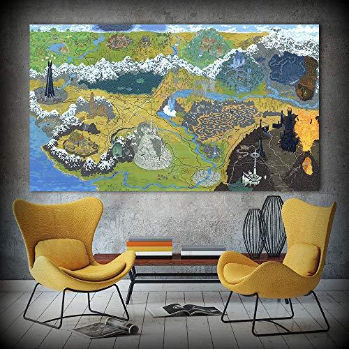 Juego Poster Canvas Art Pintura al óleo Mapa del Señor del Anillo Imágenes de Pared para Sala de Estar Decoración para el hogar C 45x75cm Sin Marco