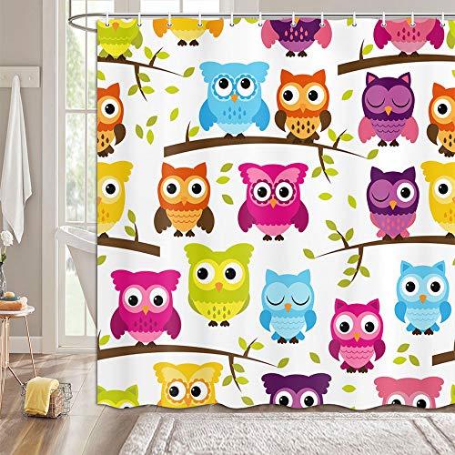 MERCHR Duschvorhang mit Eulen-Motiv, lustige Cartoon-Vögel, bunt, auf dem Landhaus, Bauernhauszweig, Duschvorhang-Set, niedliches Kinder-Baddekor-Set mit Haken, 175 x 177 cm, mehrfarbig