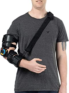 Hinged ROM Elbow Brace with Strap, Post OP Elbow Brace Stabilizer Splint Arm Orthosis Injury Recovery Support - Right