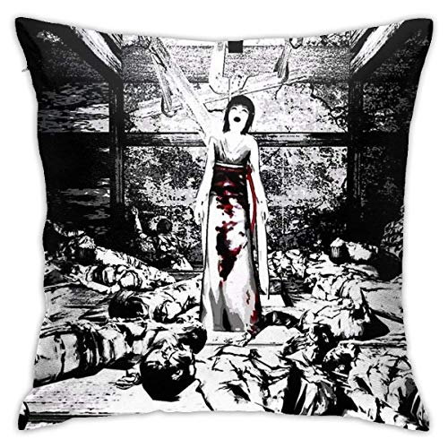 Ssxvjaioervrf Ghost In Fatal Frame Pillow Covers Cushion Covers Soft Pillow Protectors for Living Room Bed Home Bench Sofa 45cm x 45cm