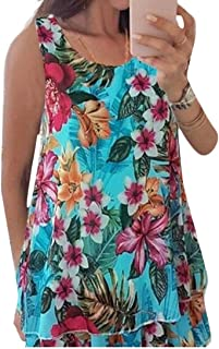 Suncolor8 Women's Floral Print Double-deck Chiffon Sleeveless Tank Top Shirts