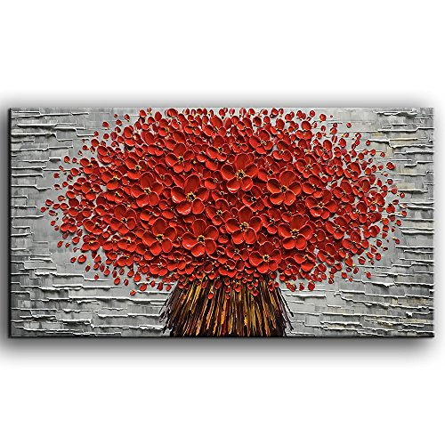 baccow Large Orange Red Flowers Paintings Modern Framed Wall Art 3D Hand Painted Artwork Abstract Floral Pictures on Canvas Wall Art Ready to Hang for Living Room Bedroom Home Decor(24X48 inch) …
