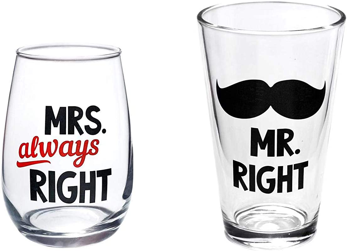 Mr Right Beer Glass And Mrs Always Right Wine Glass For Wedding Gifts Engagement Gifts Anniversary Gifts