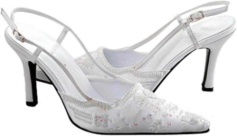 ZHRUI MZ586 Frauen Handmade Pailletten Satin Braut Hochzeit Abend Formale Partei Pumps Schuhe (Farbe   Weiß-6.5cm Heel, Gre   9 UK)