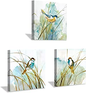 """Hardy Gallery Abstract Birds Painting Wall Art: Colorful Birds in Grass Artwork Animal Picture on Canvas Prints for for Living Room (12"""" x 12"""" x 3 Panels)"""