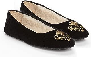 Bel Esprit - Emroidered Shearling-Lined Women's Slipper, Black