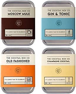 4 Piece Cocktail Kit Set - The Old Fashioned - Champagne Cocktail - Moscow Mule - Gin & Tonic - Premium Cocktail Gift Set ...