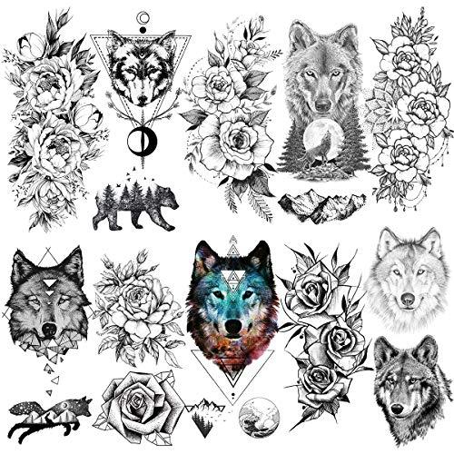 LAROI 10 Blätter Festival Wolf König Erwachsene Temporäre Tattoos Frauen Geometrische wasserdichte schwarze Tattoos Aufkleber Für Dame Körperkunst Arm 3D Pfingstrose Blume Gefälschte Tatoos Designs