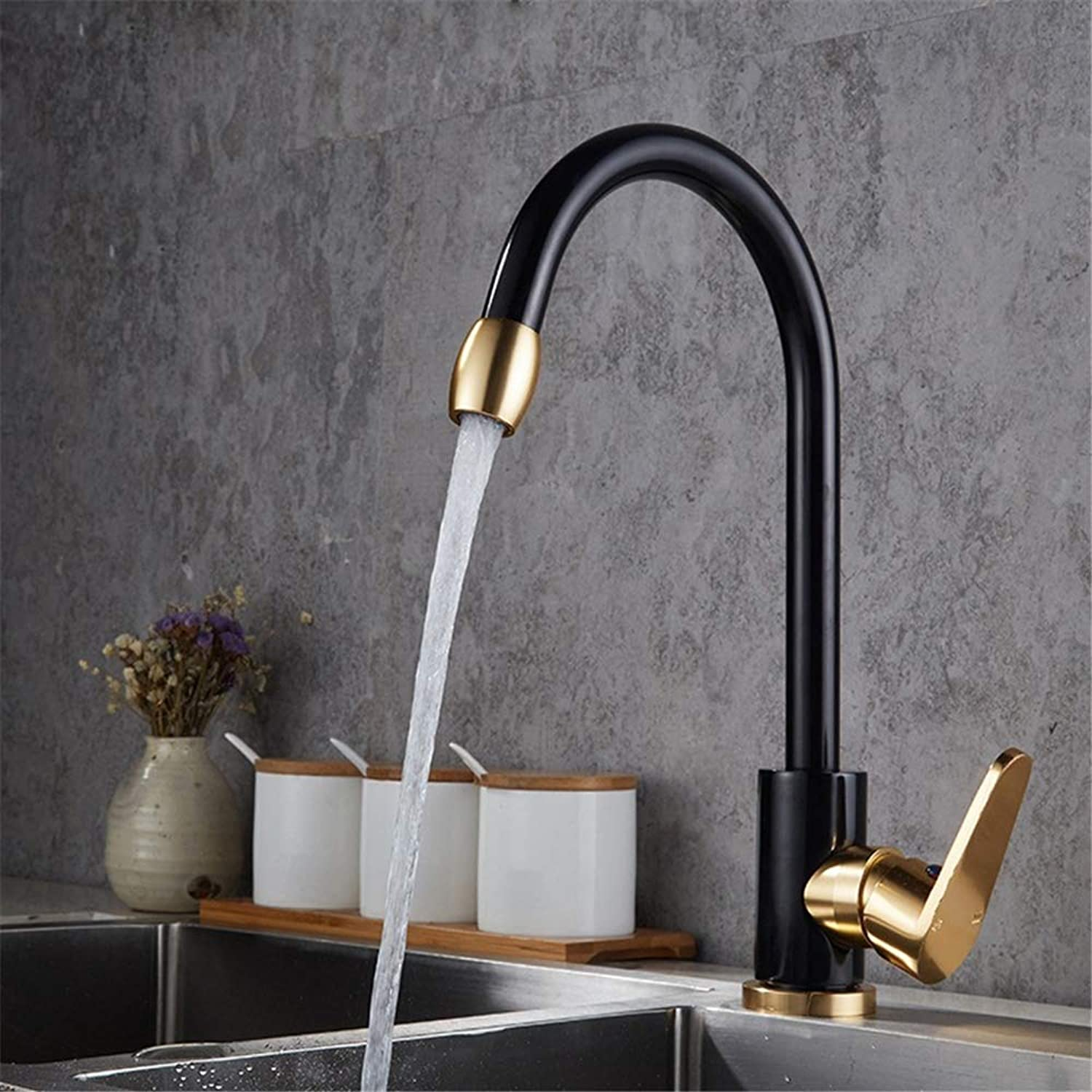 Bathroom Kitchen Sink Faucet,Black gold Fashion Space Aluminum greenical Inssizetion Hot and Cold Mixing Faucet.