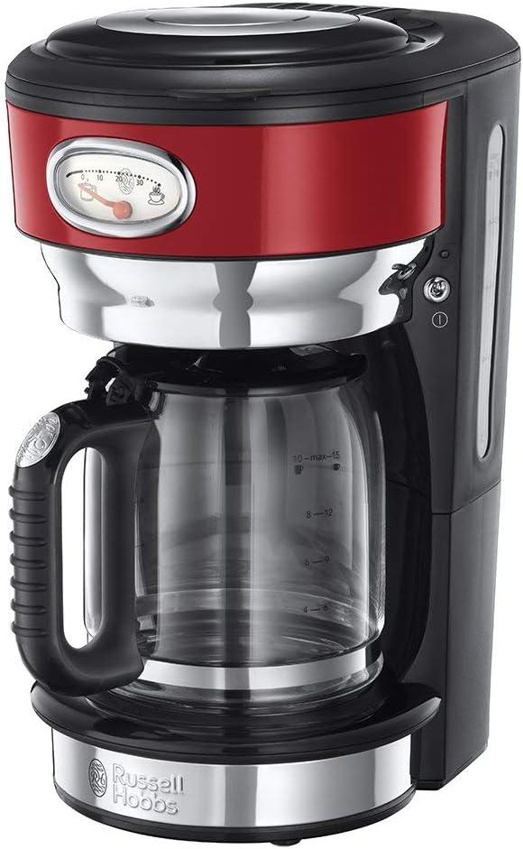 Russell Hobbs Retro - Cafetera de Goteo (Jarra Cafetera para 10 Tazas, 1000 W, Acero Inox, Rojo) - ref. 21700-56