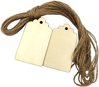 家庭飾り お酒タグ 木製 ロープ付き 素材 約100個入り