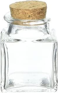 Kate Aspen,  Square Glass Favor Jar, with Cork Stopper, Petite Treat, 12 Count