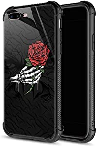 CARLOCA iPhone 8 Case,Skull Hand Holding Rose iPhone 7 Cases iPhone SE 2020 Cases for Girls Boys,Graphic Design Shockproof Anti-Scratch Hard Back Case for Apple iPhone 7/8/SE2