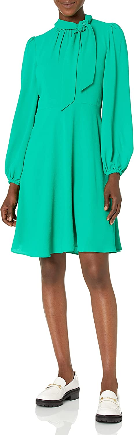 Maggy London Women's Long Sleeve Tie Neck Fit and Flare Dress