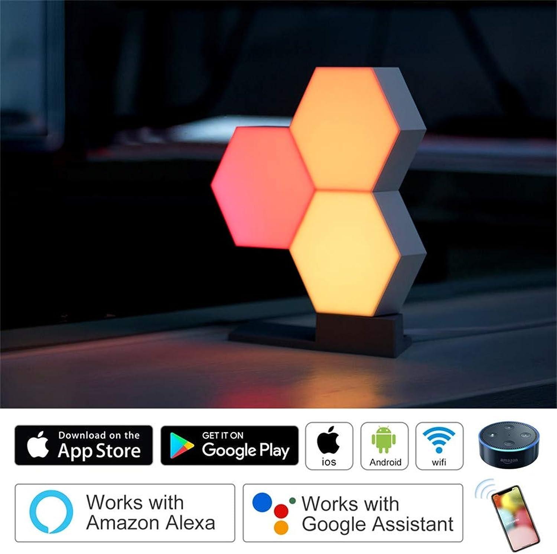 SHELLTB Buntes Licht DIY Quantum Lights Kreative Geometrie Montage LED Nachtlicht Smart RGB APP Control für Google Home Kompatibel mit Alexa Google Assistant Control,3pcs