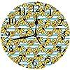"""壁掛け時計12""""サイレント非カチカチ、黄色と青、縞模様の背景にカートゥーンスタイルのカモミールデイジーブルーム、スカイブルーアースイエローブラ、リビングルーム、ベッドルーム、"""