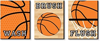 Big Dot of Happiness Nothin' but Net - Basketball - Kids Bathroom Rules Wall Art - 7.5 x 10 inches - Set of 3 Signs - Wash, Brush, Flush