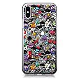 CASEiLIKE Funda iPhone X, Carcasa Apple iPhone X, Graffiti 2703, TPU Gel Silicone Protectora Cover