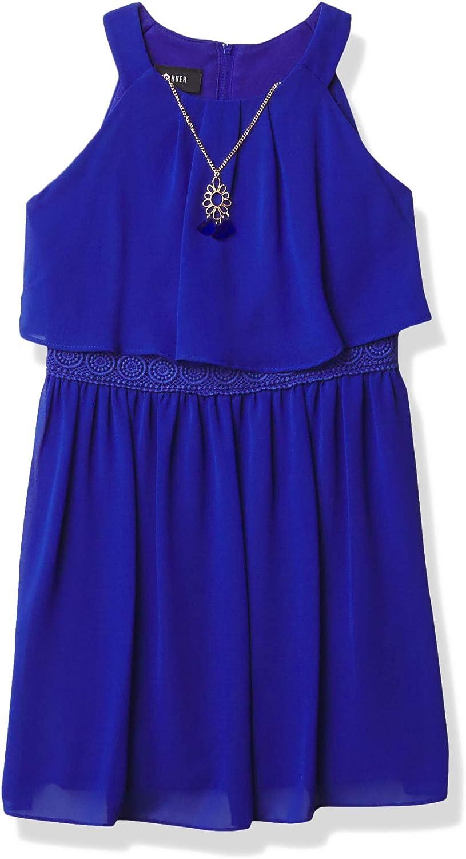 Amy Byer Girls' Halter Popover Dress with Decorative Trim at Waist