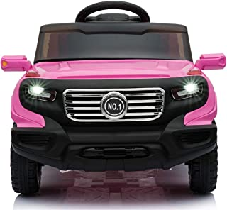 JAXPETY 6V Ride On Car Truck w/ Parent Control 3 Speeds LED Headlights MP3 Player Horn (Pink)