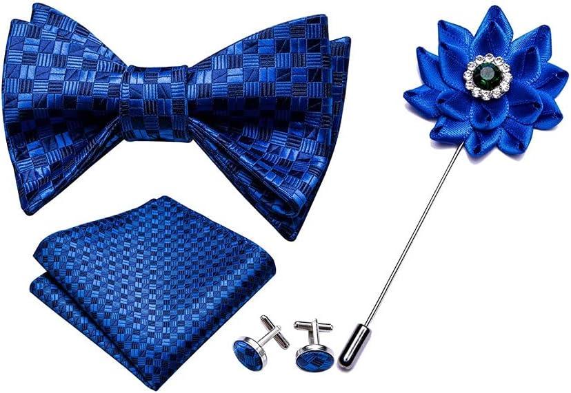 NJBYX Men's Blue Bow Self-tiered Silk Tie Set, Pocket Cuff Buckle Chest Wedding Fashion Men's Tie (Color : Blue, Size : One size)