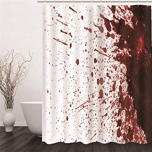 HAHAHAG Duschvorhang Blut Moderner Digitaldruck mit 12 Haken auf Stoff Wasser und Bakterie Resistent 150x180cm (59x71 inch)