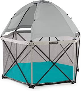 Summer Pop 'n Play SE Hex Playard, 6-Sided, Sweet Life Edition, Aqua Sugar Color – Full Coverage Play Pen for Indoor and Outdoor Use - Fast, Easy and Compact Fold