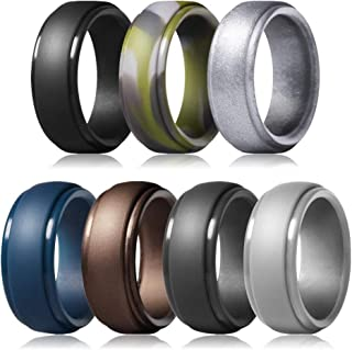 Silicone Wedding Ring for Men Breathable Women Rubber Wedding Bands Stay Safe Soft at Work /& Sport Width 8mm Thickness 2mm Fit Well Size 7-14
