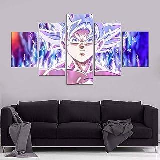 QQYYYT 5 قطع من الطباعة عالية الوضوح DBZ Goku Evolution الحديثة ديكور المنزل اللوحة على قماش جدار الفن الديكور الفني للديك...
