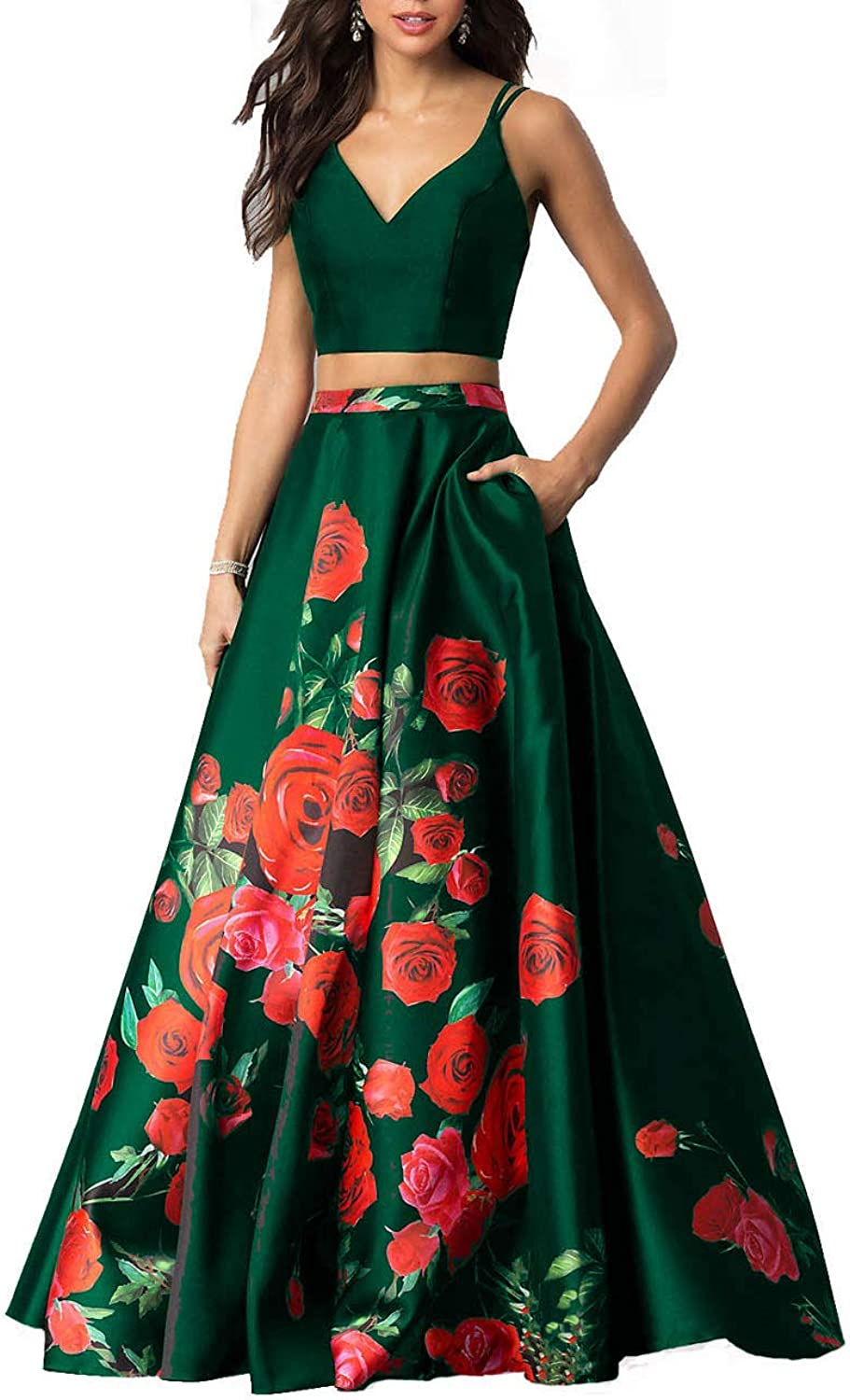 Sulidi Womens 2 Piece Floral Printed Prom Dresses with Pockets Long 2019 Formal Evening Ball Gown C157