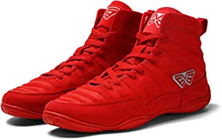 HwwPrime Men's High-Top Boxing Shoes, Suitable for Gymnasium & Boxing Arena,Red,41 EU