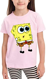 Funny Curious Spongebob_ Printing Crew Neck Tees Tops for Boys Girls,Black 100% Organic Cotton