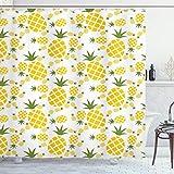 Ambesonne Ananas-Dekor-Kollektion, Ananas-Piktogramm, dekoratives Vintage-Muster, Bauernhof, lebendige Farben, Polyester-Stoff, Badezimmer-Duschvorhang-Set mit Haken, Gelbgrün