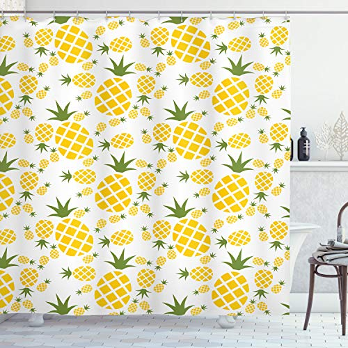 """Ambesonne Pineapple Decor Collection, Simple Ananas Fruits Pictogram Pattern in a Tropic Design and Exotic Mustard Colored Ornament, Fabric Bathroom Decor Set with Hooks, 84"""" Long Extra, Yellow Green"""