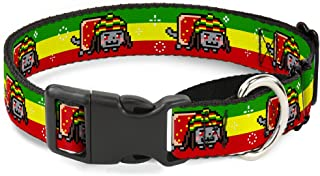 Buckle Down Dog Collar Martingale Rasta Nyan Cat Stripe Green Yellow Red 15 to 26 Inches 1.0 Inch Wide