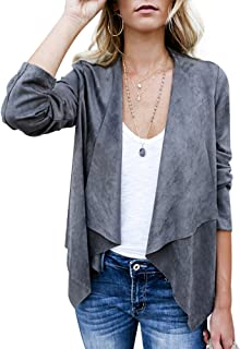 a6516301e79 Women's Casual Faux Suede Cardigan Long Sleeve Solid Trench Open Front Coat
