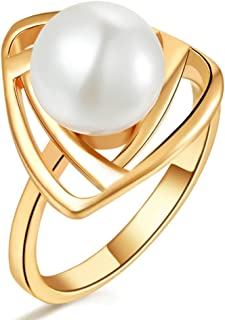 Nisiddh Inc 14K Rose Gold Finish 925 Sterling Silver Round Cut White Cubic Zirconia Lotus Fashion Ring for Womens