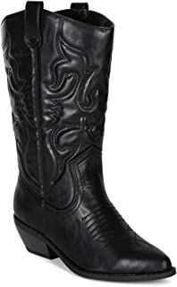 Leatherette Women Embroidered Pointy Toe Cowboy Boot BE52 - Black (Size: 7.5)