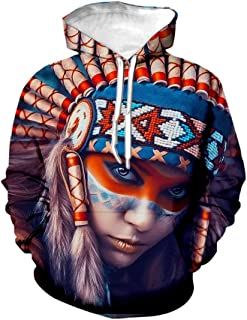 Unisex Fashion 3D Digital Printed Hoodie Pullover Native American Indian