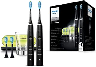 Philips Sonicare DiamondClean HX9354/38 - Pack 2 cepillos de dientes eléctricos recargables, 5 modos, 4 cabezales, vaso cargador, estuche USB, Color Negro