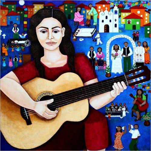Lienzo 20 x 20 cm: Violeta Parra playing