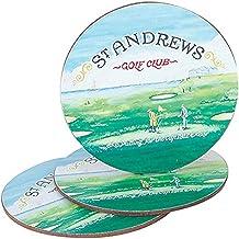 "PGA St. Andrews Golf Club Coasters, Green, 5"""