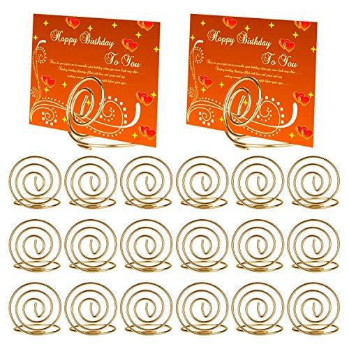 Mwoot Fotohalter, 20 Stk Kartenhalter zur Halterung von Namenskarten, Tischnummerkarten, Fotos für Hochzeit, Ausstellung Edelstahl Kartenhalterung Golden