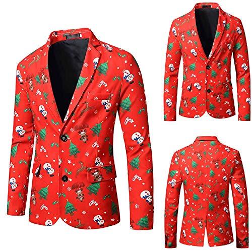 Adlforever Herrenanzug lässig Weihnachtsdruck Langarm Anzug Party Event Herrenjacke