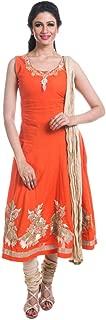 Cynthia's Fashion Flaired Cotton Solid Color Salwar Suit, Zari Emboridered Kurta with Cotton Churidar or Leggings and Dupatta Set