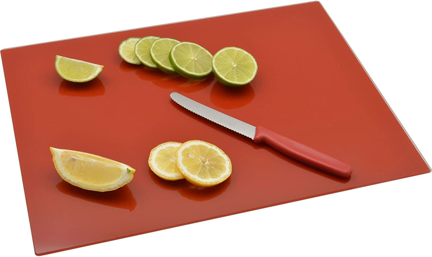 Harbour Housewares Glass Kitchen Chopping - Board 400mm Free shipping anywhere in the nation Limited time sale x Red