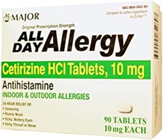 ALL DAY ALLERGY 24HR TAB CETIRIZINE HCL-10 MG White 90 TABLETS UPC 309045852897